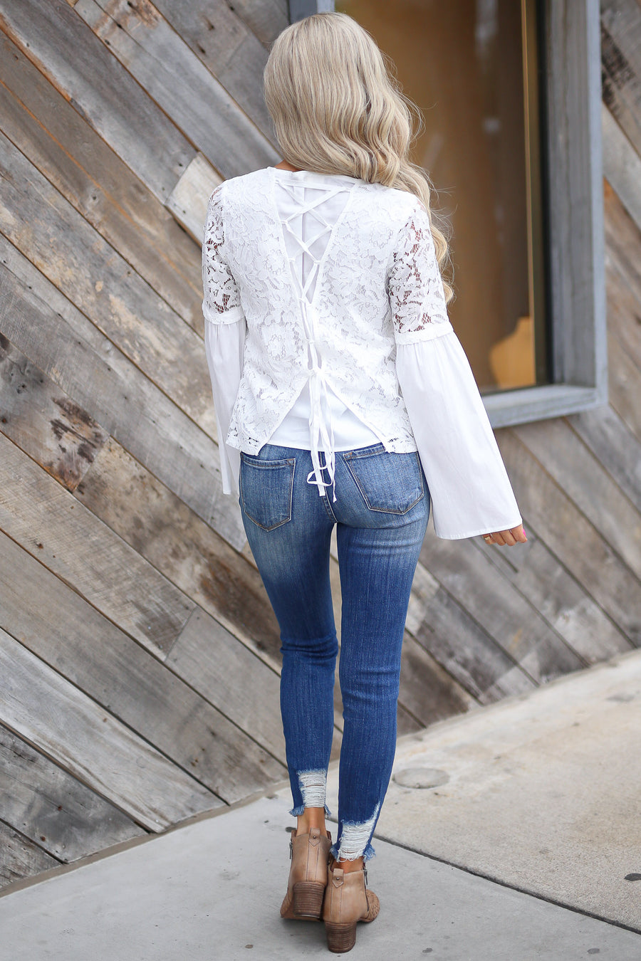 Giving Second Glances Top - White lace bell sleeve top, front, Closet Candy Boutique
