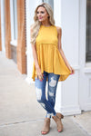 Brighten the Day Top - Sunshine sleeveless babydoll top, outfit, Closet Candy Boutique