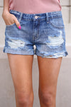 Beach Bum Denim Shorts - Medium Wash distressed denim shorts, Closet Candy Boutique 1