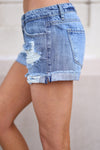 Beach Bum Denim Shorts - Medium Wash distressed denim shorts, Closet Candy Boutique 2
