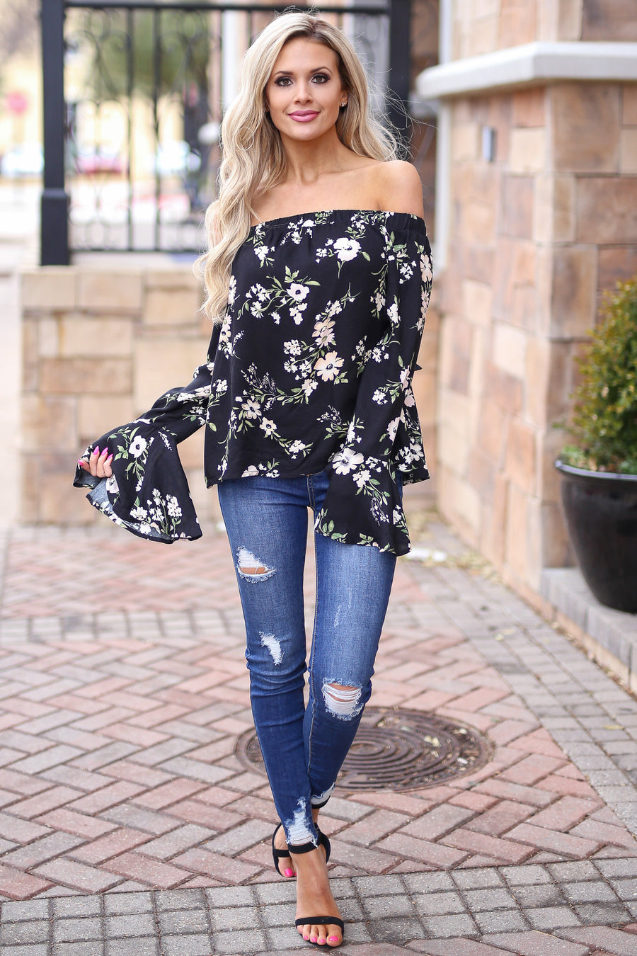 LOVE STITCH Tuscany Gardens Top - Black floral off the shoulder flutter sleeve top, front, Closet Candy Boutique