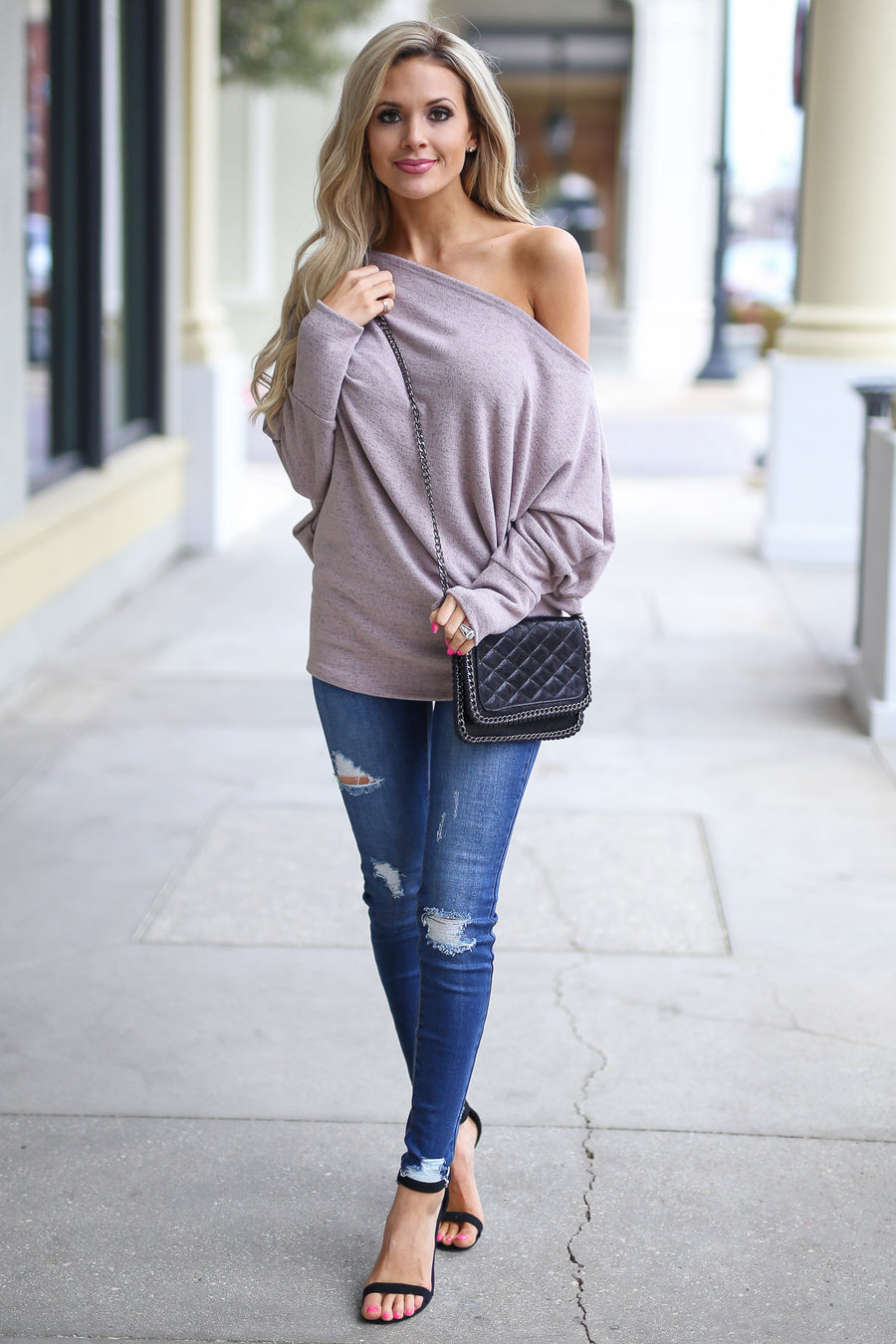 Brush It Off Top - Blush off the shoulder slouchy top, side, Closet Candy Boutique