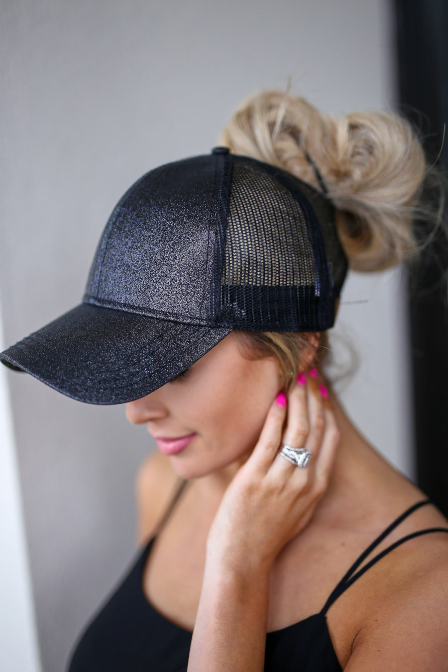 Sprinkle Some Glitter Ponytail Hats - pink, black, gold sparkly cutout baseball cap, sheer panels, top bun, high ponytail, closet candy boutique 1