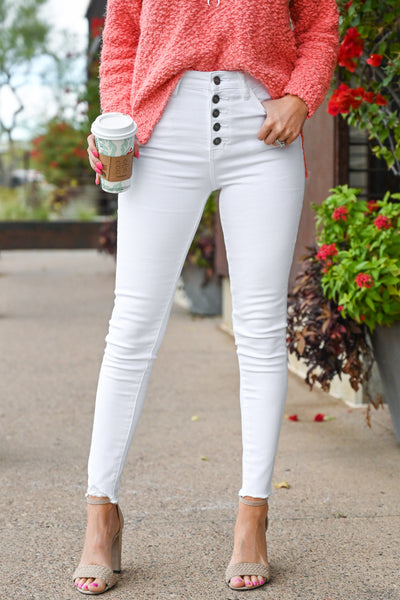 KAN CAN Exposed Button Raw Hem Jeans - White women's comfort stretch jeans, Closet Candy Boutique 1