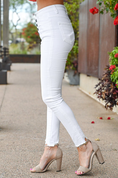 KAN CAN Exposed Button Raw Hem Jeans - White women's comfort stretch jeans, Closet Candy Boutique 3