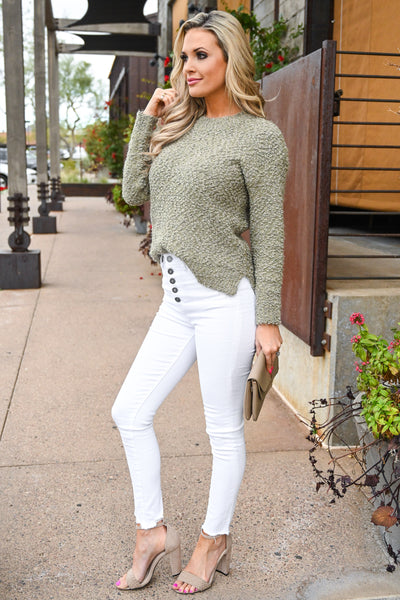 Slay Then Rosé Sweater - Olive women's popcorn hi-low sweater top, Closet Candy Boutique 4