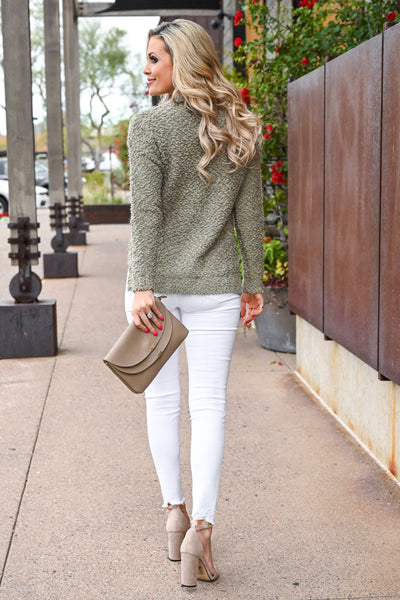 Slay Then Rosé Sweater - Olive women's popcorn hi-low sweater top, Closet Candy Boutique 2