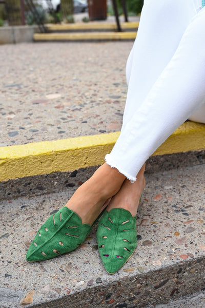 Love Always, Maisy Mules - Green women's laser cutout slip on flats, Closet Candy Boutique 3