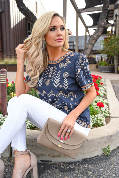 Lovely Thoughts Embroidered Top - Navy women's short sleeve blouse with embroidery details, Closet Candy Boutique 2