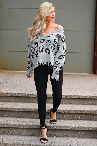 Wild About You Leopard Sweater - Grey women's off-the-shoulder distressed top, Closet Candy Boutique 4