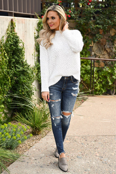 Slay Then Rosé Sweater - Ivory women's popcorn hi-low sweater top, Closet Candy Boutique 4