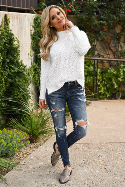 Slay Then Rosé Sweater - Ivory women's popcorn hi-low sweater top, Closet Candy Boutique 5