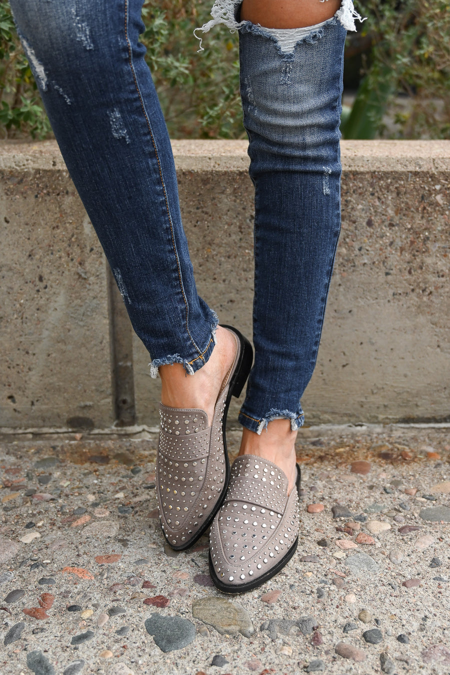 Richie Studded Mules - Grey women's slip on flats studded mules, Closet Candy Boutique 1
