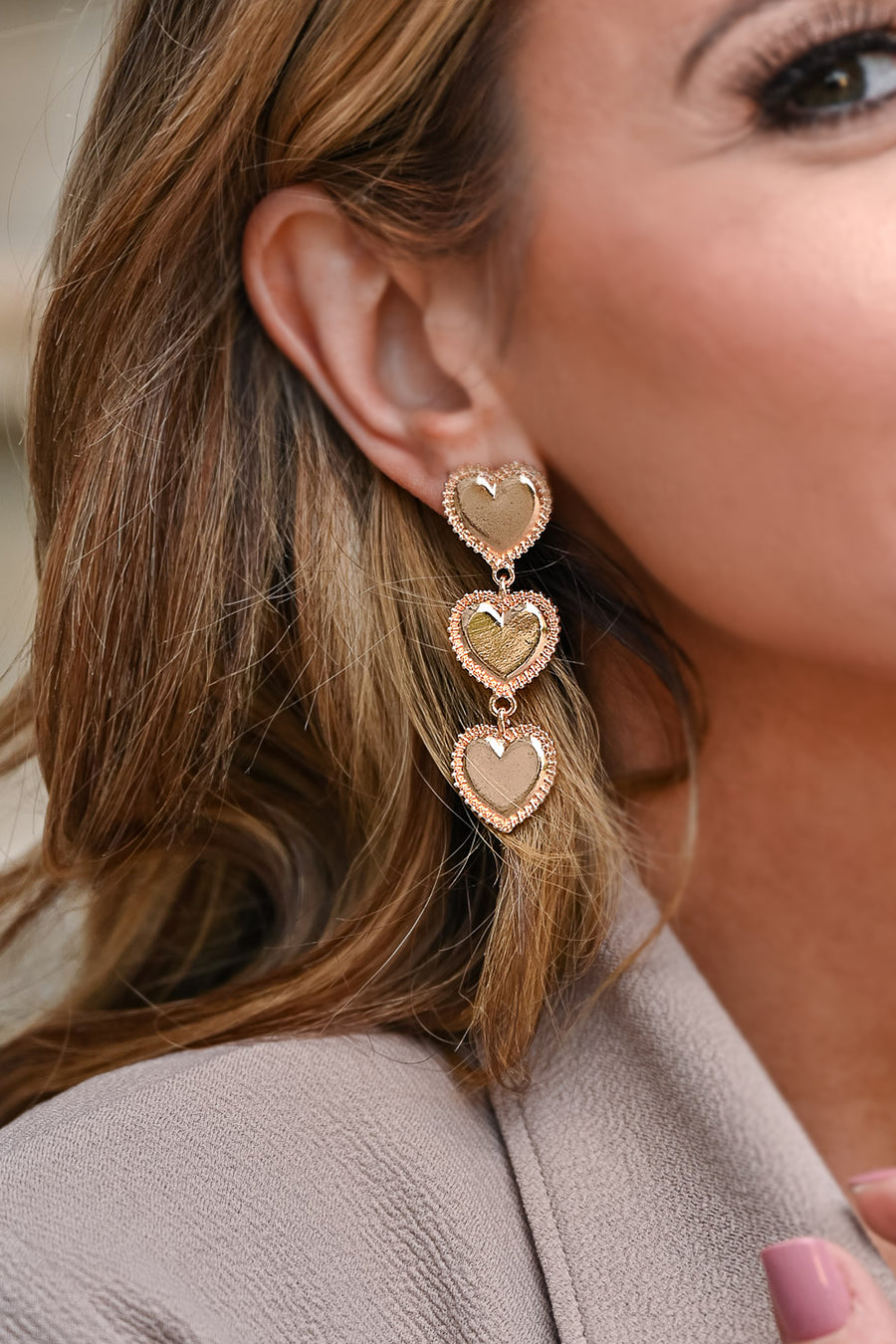 Sweetheart Stacked Heart Dangle Earrings - Gold womens trendy gold-tone heart dangle earrings closet candy side