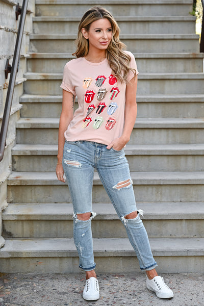 Sugar Lips Graphic Tee - Peach womens casual short sleeve graphic tongue tee closet candy front 2