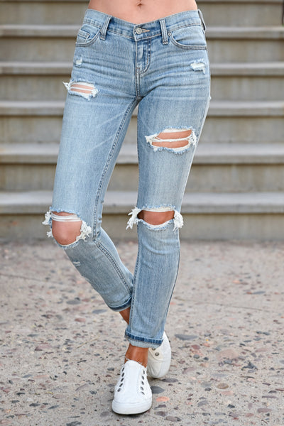 Distressed Sadie Skinny Jeans - Light Wash womens casual distressed zipper fly jeans closet candy front 2