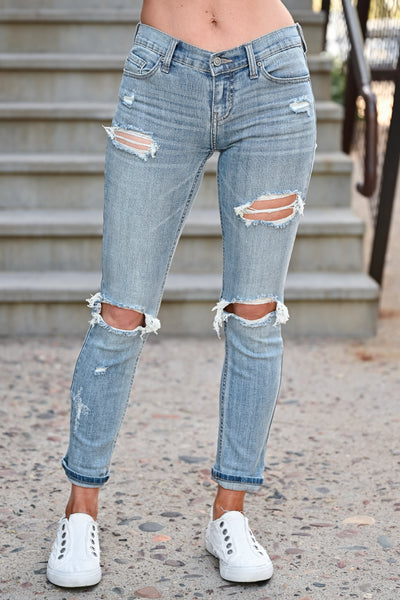 Distressed Sadie Skinny Jeans - Light Wash womens casual distressed zipper fly jeans closet candy front 3
