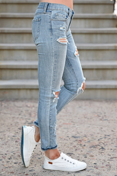 Distressed Sadie Skinny Jeans - Light Wash womens casual distressed zipper fly jeans closet candy side