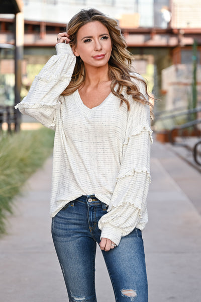 Making Dreams Come True Top - Ivory womens casual oversized ribbed knit top with v-neckline closet candy front 3