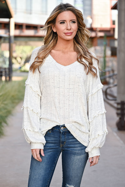 Making Dreams Come True Top - Ivory womens casual oversized ribbed knit top with v-neckline closet candy front