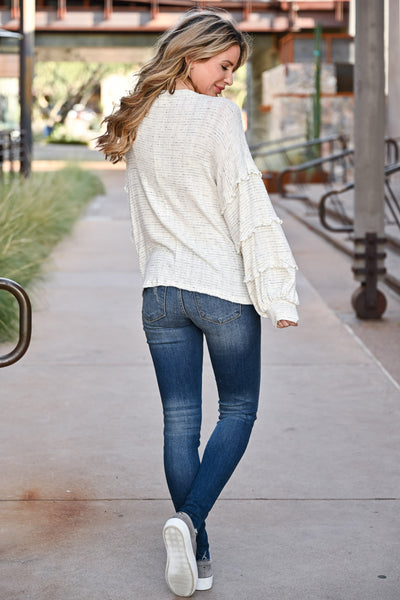 Making Dreams Come True Top - Ivory womens casual oversized ribbed knit top with v-neckline closet candy back