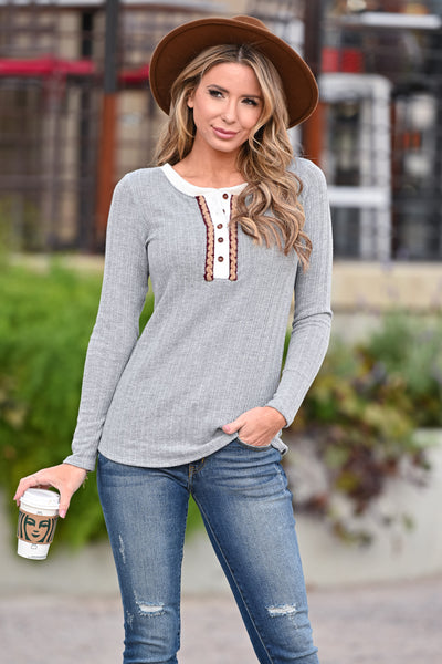 Seasons of Life Henley Top - Grey womens casual long sleeve rope trim details top closet candy front