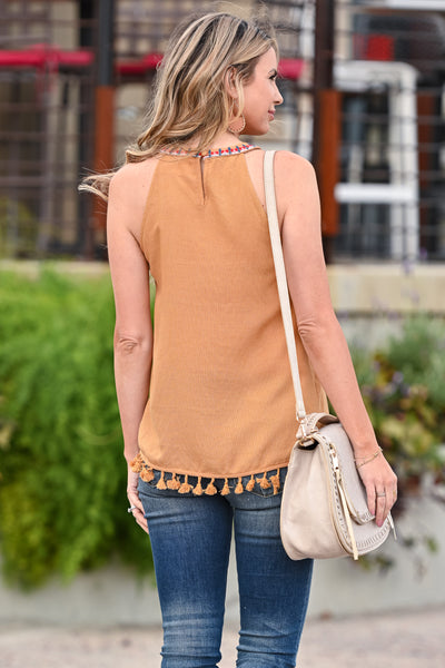 Keep It Cool Embroidered Top - Mustard womens trendy high neck embroidered detail tank closet candy back
