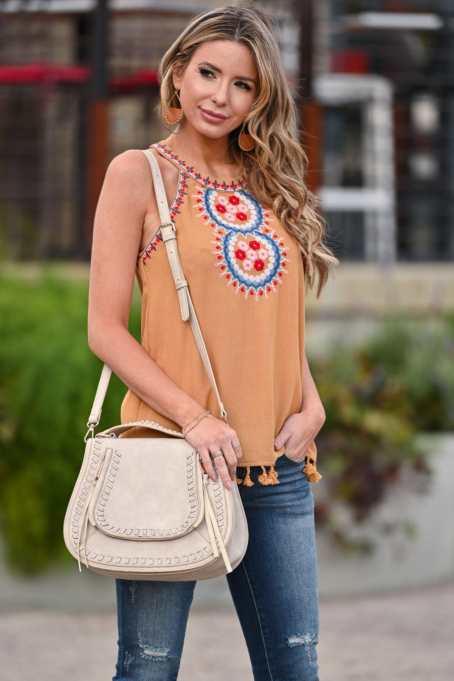 Keep It Cool Embroidered Top - Mustard womens trendy high neck embroidered detail tank closet candy front