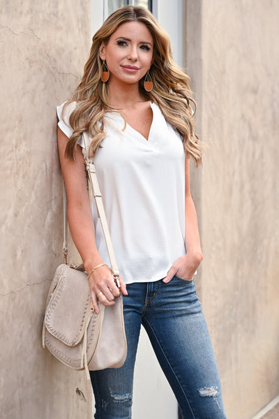 All The Things Top - Ivory womens trendy solid blouse v-neckline with ruffle sleeves closet candy front