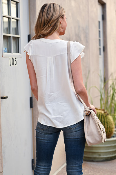 All The Things Top - Ivory womens trendy solid blouse v-neckline with ruffle sleeves closet candy back