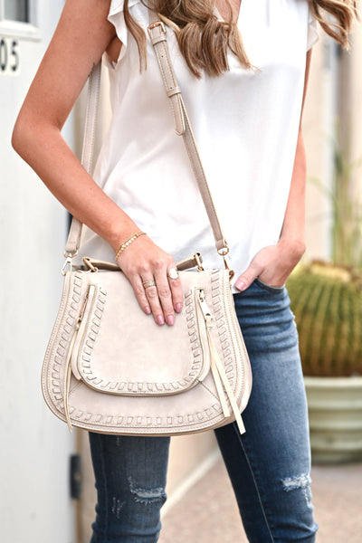 Khloe Saddle Bag Large - Cream womens casual vegan leather saddle bag closet candy front