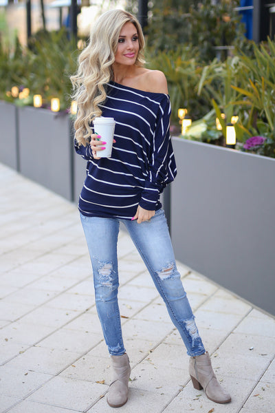 Not Even Trying Top - Navy/Ivory stripe off the shoulder long sleeve top, Closet Candy Boutique 4