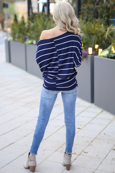 Not Even Trying Top - Navy/Ivory stripe off the shoulder long sleeve top, Closet Candy Boutique 5