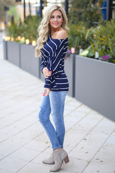 Not Even Trying Top - Navy/Ivory stripe off the shoulder long sleeve top, Closet Candy Boutique 2