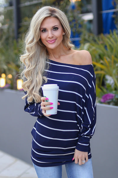 Not Even Trying Top - Navy/Ivory stripe off the shoulder long sleeve top, Closet Candy Boutique 1
