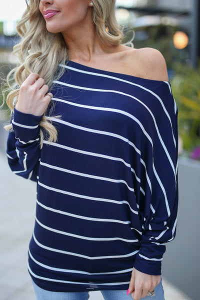 Not Even Trying Top - Navy/Ivory stripe off the shoulder long sleeve top, Closet Candy Boutique 3