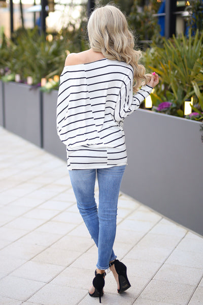 Not Even Trying Top - cute ivory stripe off the shoulder top, back, Closet Candy Boutique