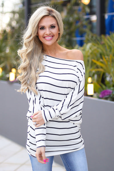 Not Even Trying Top - cute ivory stripe off the shoulder top, front, Closet Candy Boutique