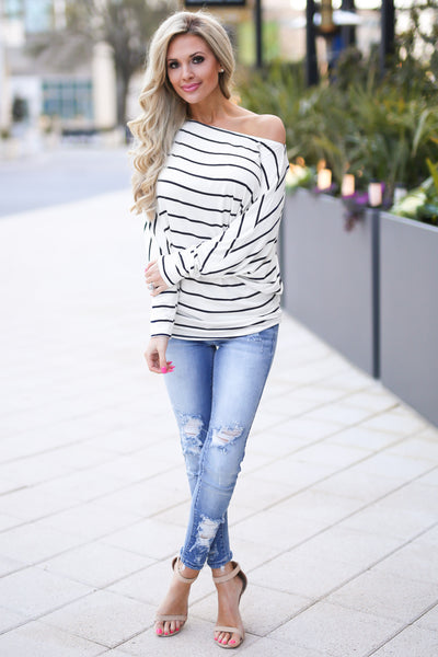 Not Even Trying Top - cute ivory stripe off the shoulder top, outfit view, Closet Candy Boutique