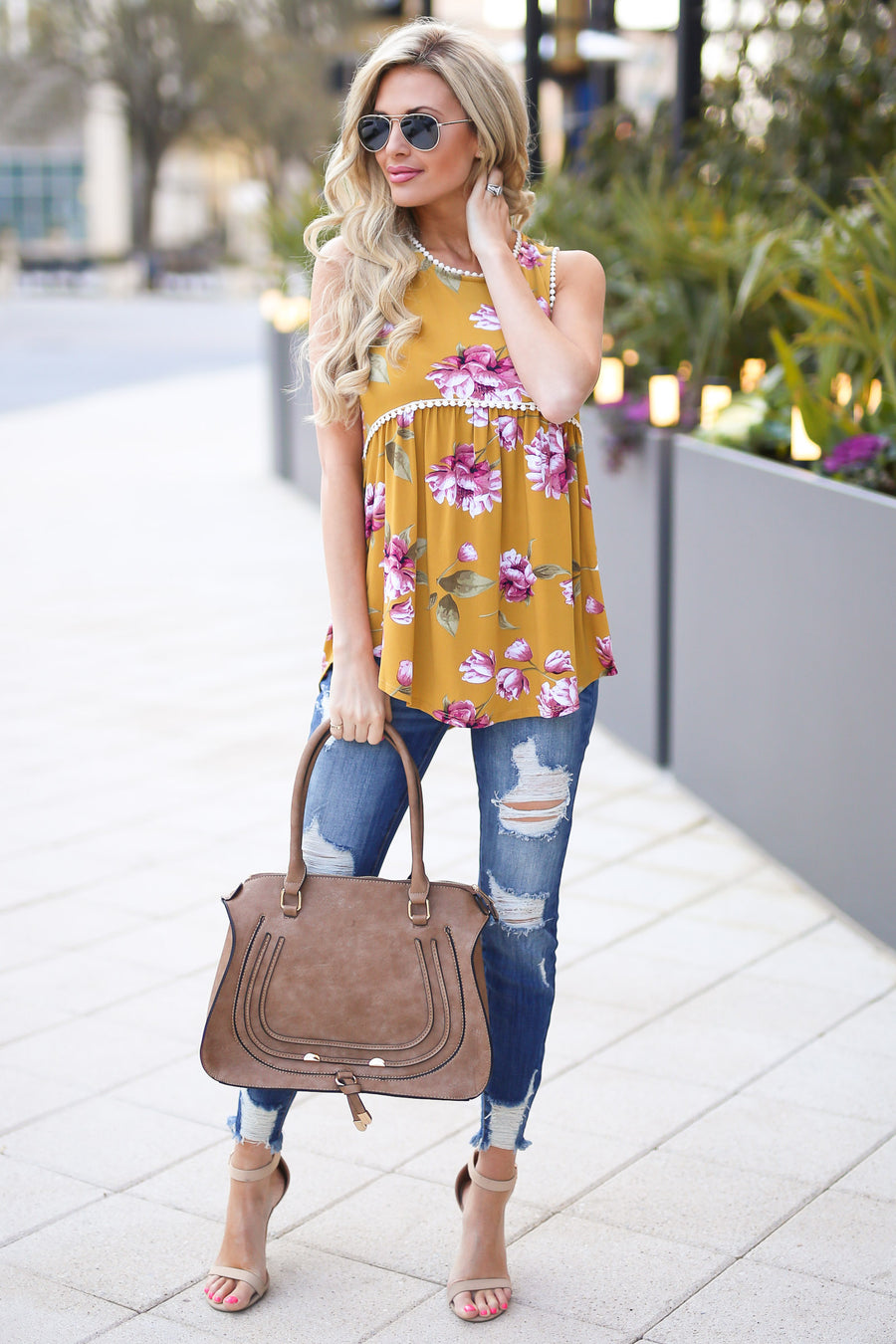 Second to None Top - cute mustard floral tank top, front, Closet Candy Boutique