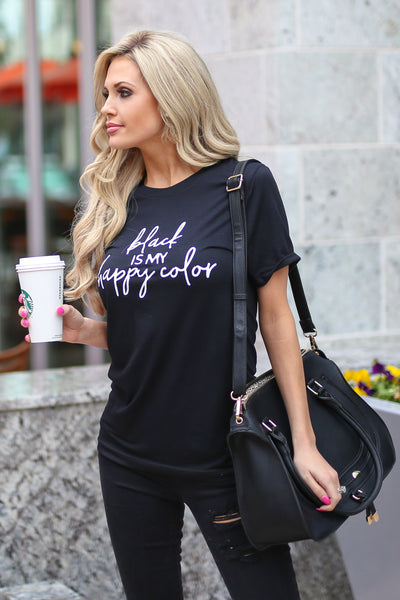 "CCB ""Black Is My Happy Color"" T-Shirt - black short sleeve tee, Closet Candy Boutique 2"