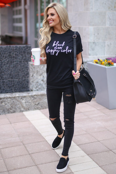 "CCB ""Black Is My Happy Color"" T-Shirt - black short sleeve tee, Closet Candy Boutique 1"