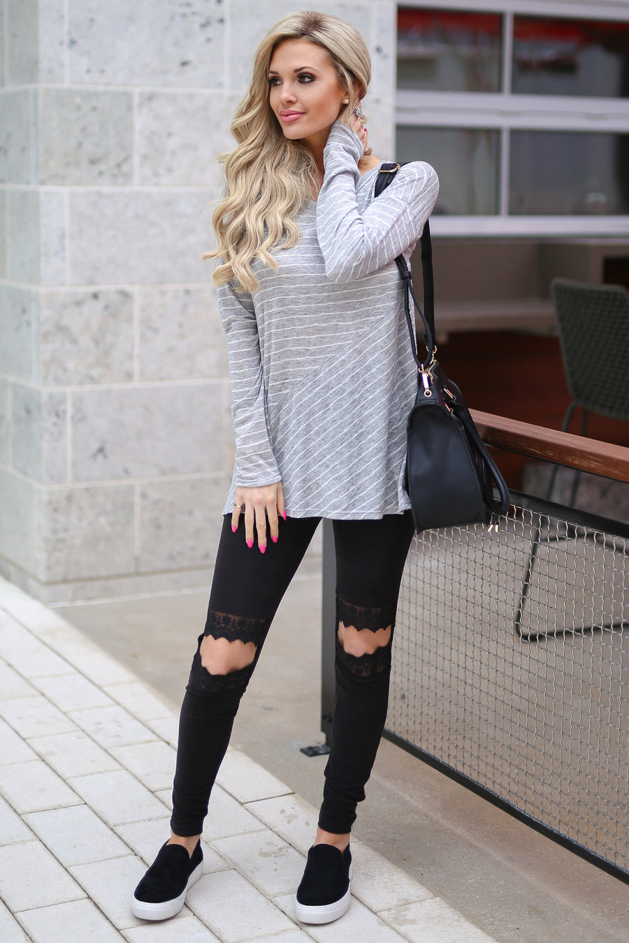 Let It Go Top - Heather Grey stripe long sleeve top, outfit, Closet Candy Boutique