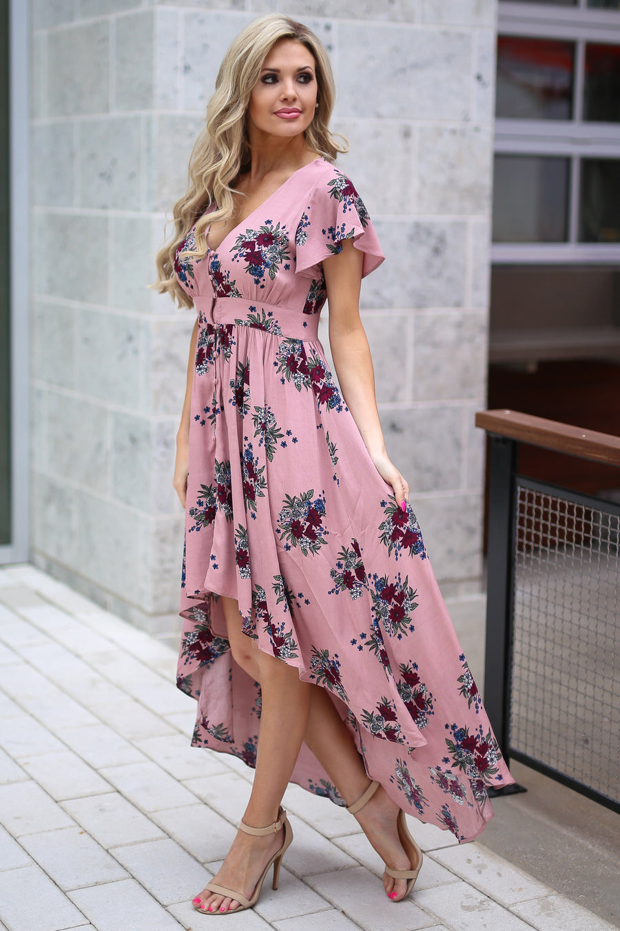 Nantucket Maxi Dress - Blush floral print high-low dress, front, Closet Candy Boutique