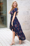 Nantucket Maxi Dress - Navy floral high-low maxi dress, side, Closet Candy Boutique