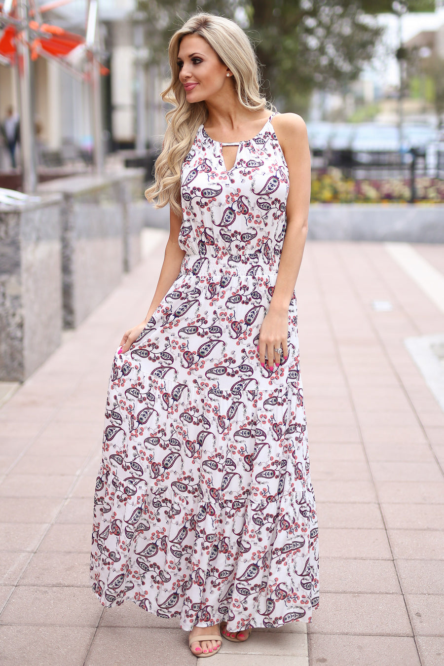 Top of the World Maxi Dress - Ivory paisley print halter maxi dress, side, Closet Candy Boutique