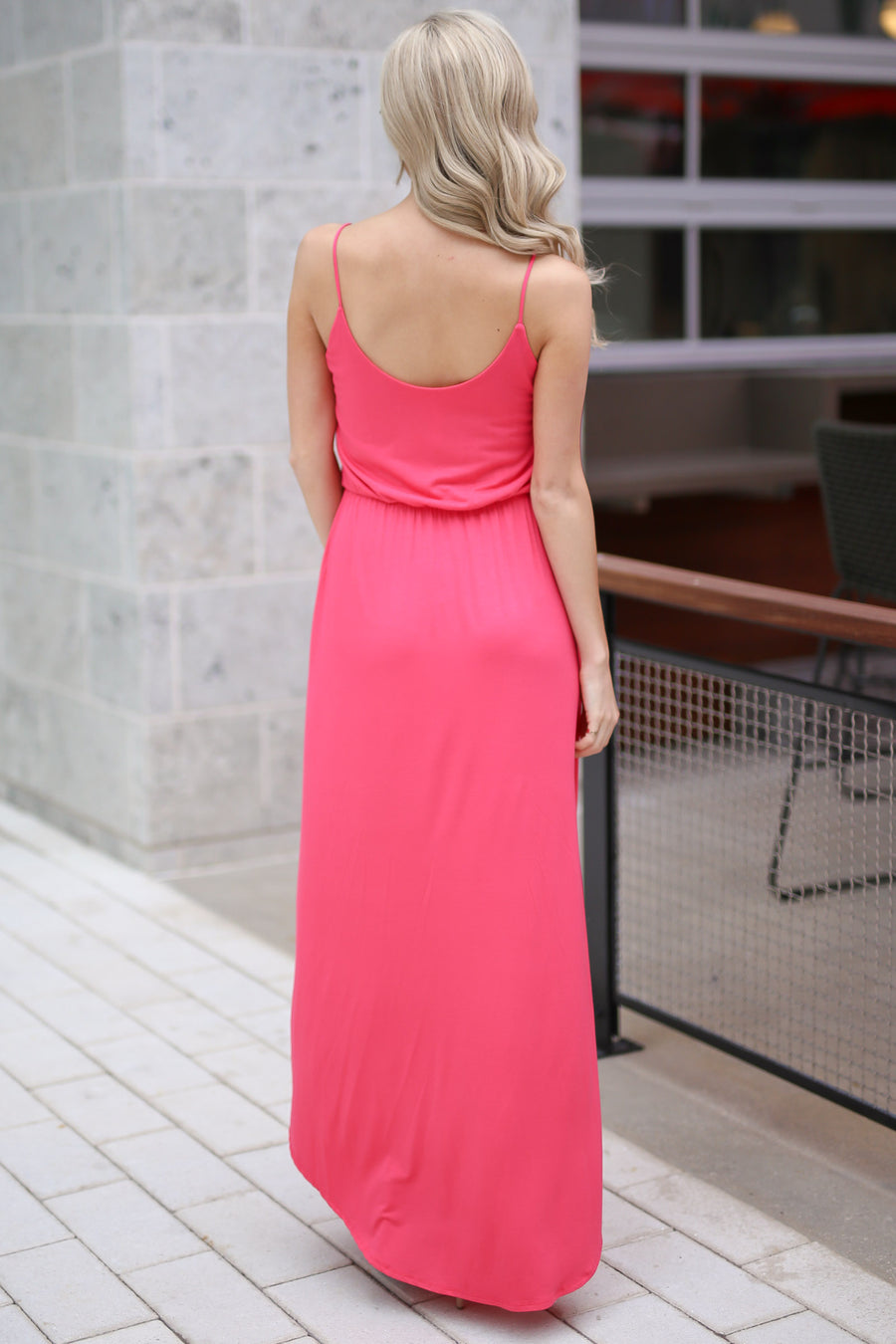 Bring on the Sun Maxi Dress - Coral v-neck high low maxi dress, side, Closet Candy Boutique