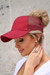 Amore Ponytail Hats - wine, black, white trendy cutout baseball cap, sheer panels, allows for top bun or high ponytail, closet candy boutique 3