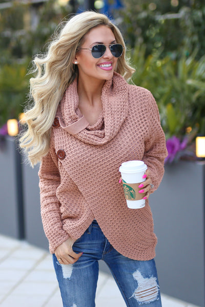 Wrap Me Up Sweater - cute blush wrap sweater, front, Closet Candy Boutique 3