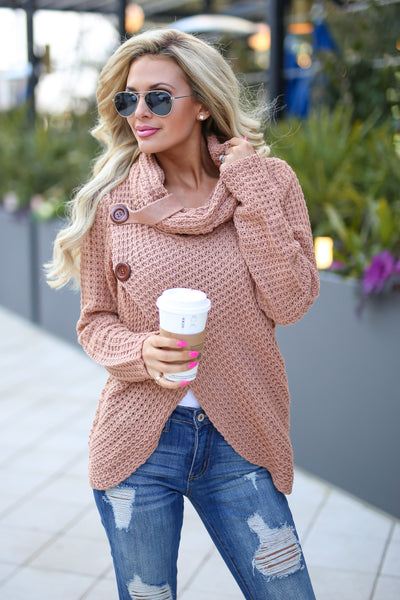 Wrap Me Up Sweater - cute blush wrap sweater, front, Closet Candy Boutique 1